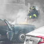 Car catches fire behind Richmond County Jail
