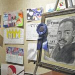 MLK posters and essays on display at Leath Memorial Library